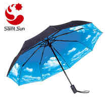 UV Protection Custom Logo Double Layers Blue Sky Umbrella