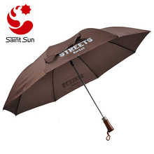 Super strong 2 fold auto open telescopic umbrella with wooden handle