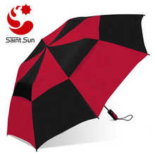 Two Folding Golf Umbrella, With Double Canopy  Windproof Frame Design