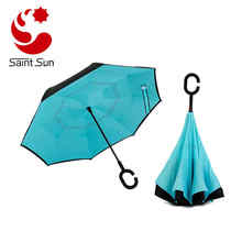 Alink Inside Out Reverse Folding Umbrella, Double Layer Outdoor Rain & Sun Inverted Open & Close No Drip Umbrella