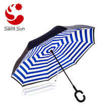 Double Layer Reverse Umbrella, Creative Cell Phone Umbrella With C Shape Handle reverse opening umbrella