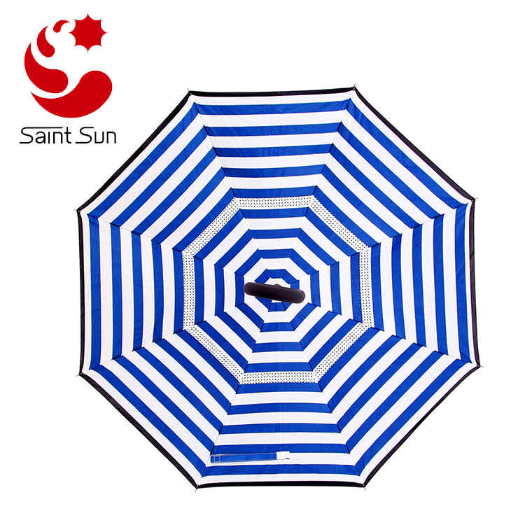 Double Layer Reverse Umbrella, Creative Cell Phone Umbrella With C Shape Handle
