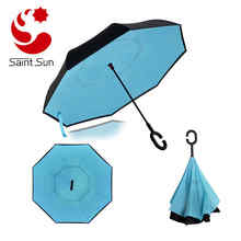 Easy Open Close Blue Reverse Inverted Car Umbrella