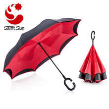 Easy Open Close Black  Reverse Inverted Car Umbrella