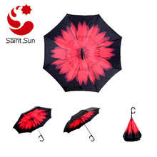 Inside Out Compact Travel Umbrella for Car Rain Outdoor With C-Shaped Handle