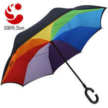 Rubber coated C-shaped handle umbrella