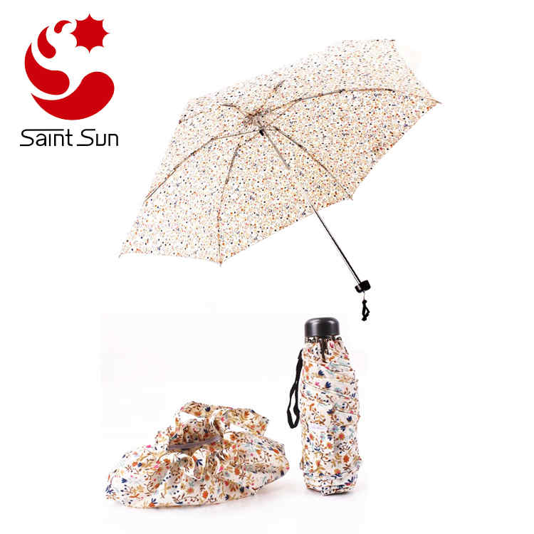 Super Mini Handiness Compact 5 Folding Floral Pattern Parasol Sun Rain Umbrella