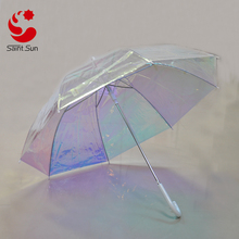 Iridescent Stick Umbrella with Hook Handle