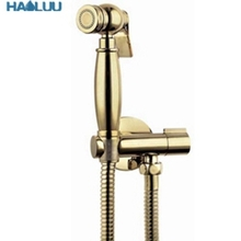 High Quality Golden Brass  Hand Shower Hose Bathroom Accessories Sanitary Ware bidet sprayer set brass shattaf set