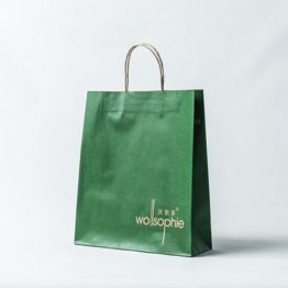 Green color printed kraft paper bag