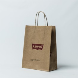 Round twisted handle brown kraft paper bag with logo printed