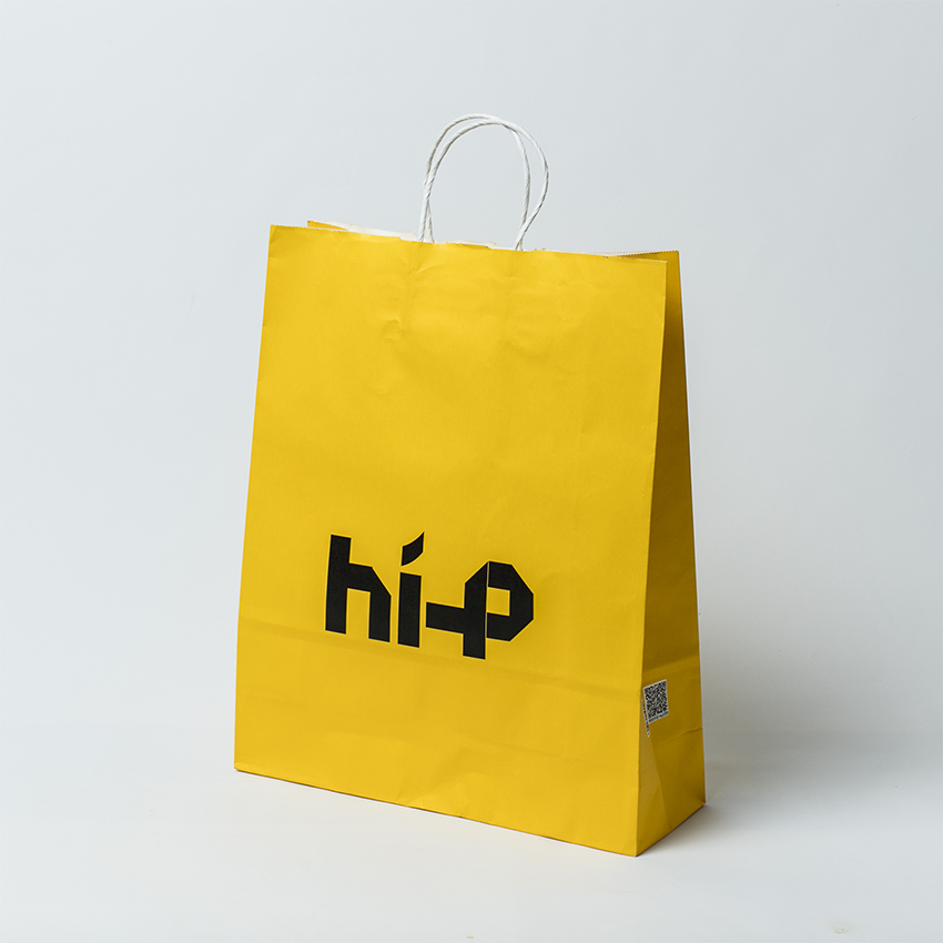 Yellow color kraft paper bags with logo printing