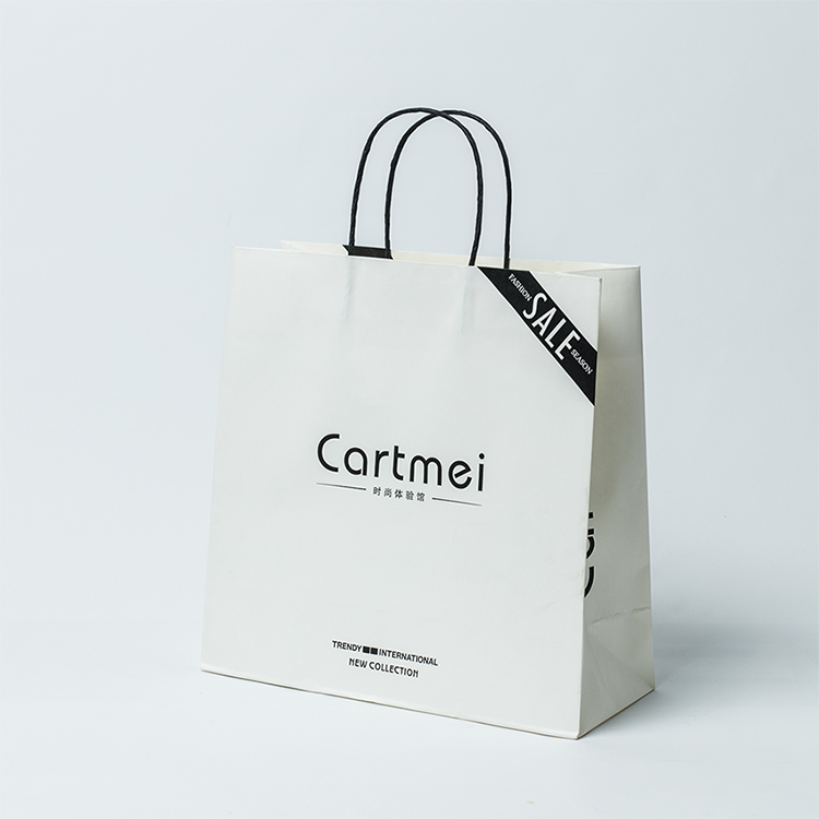 With Sale printed white kraft paper bags