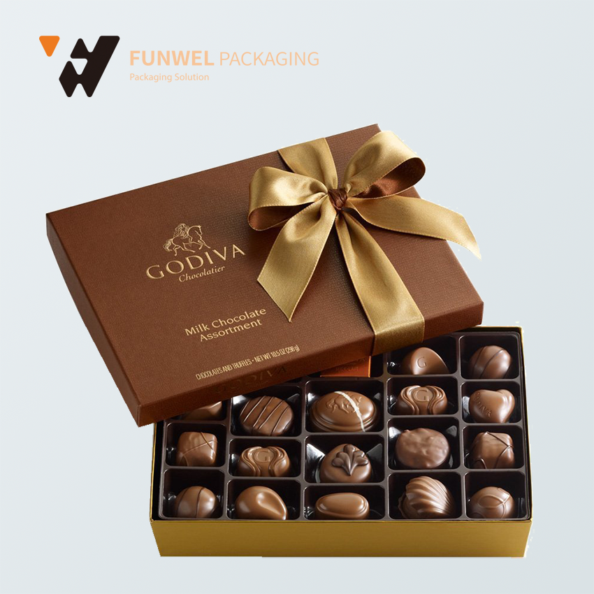 customized printing paper chocolate box with paper divide, chocolate paper box beautiful gift boxes
