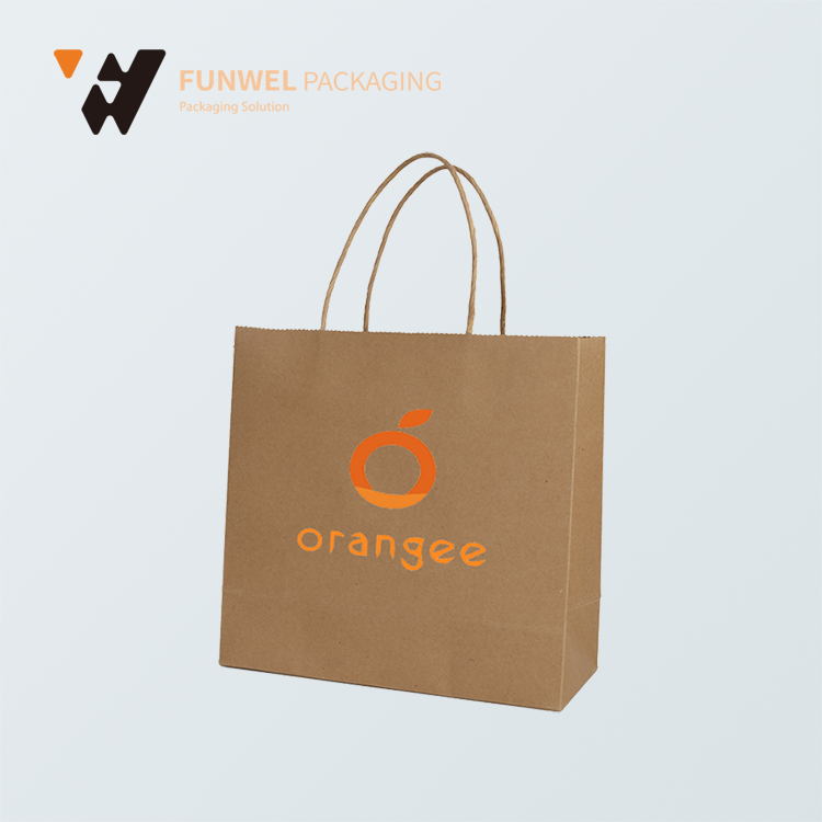 Logo printed brown kraft paper bag with twisted paper handles