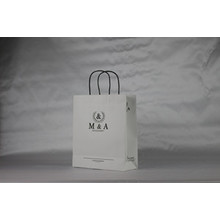 Print logo white kraft twisted handle paper bags