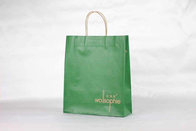 Green Coloured paper carrier bag