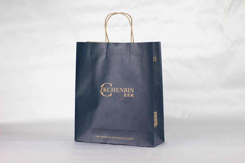 Blue printed kraft paper bag