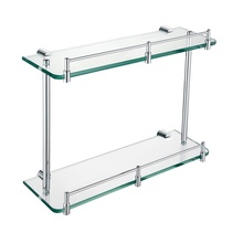 H0030420181CP Chrome 2-Tier Bathroom Glass Shelf, Wall Mounted bathroom accessories
