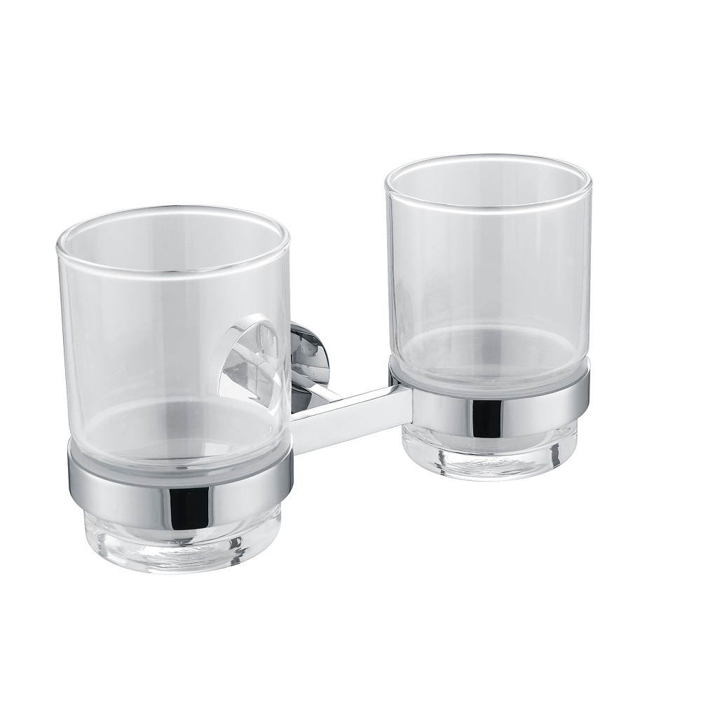 H003046972cp chrome double round tumbler holder wall - Chrome and brass bathroom accessories ...