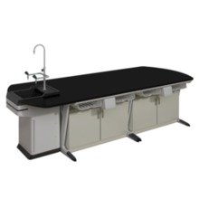 A1 Alloy Aluminium Lab Bench With Falling Floor Supporting Cabinet lab furniture school lab furniture