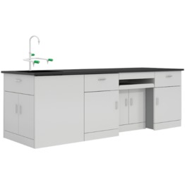 B4 All Wood Lab Bench With Falling Floor Supporting Cabinet lab furniture science lab furniture