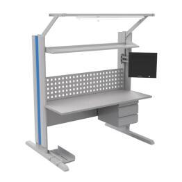 Single Sided Tower Workbench with Power Line Upright Post