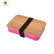 Aluminium sandwich box with bamboo lid food storage bins