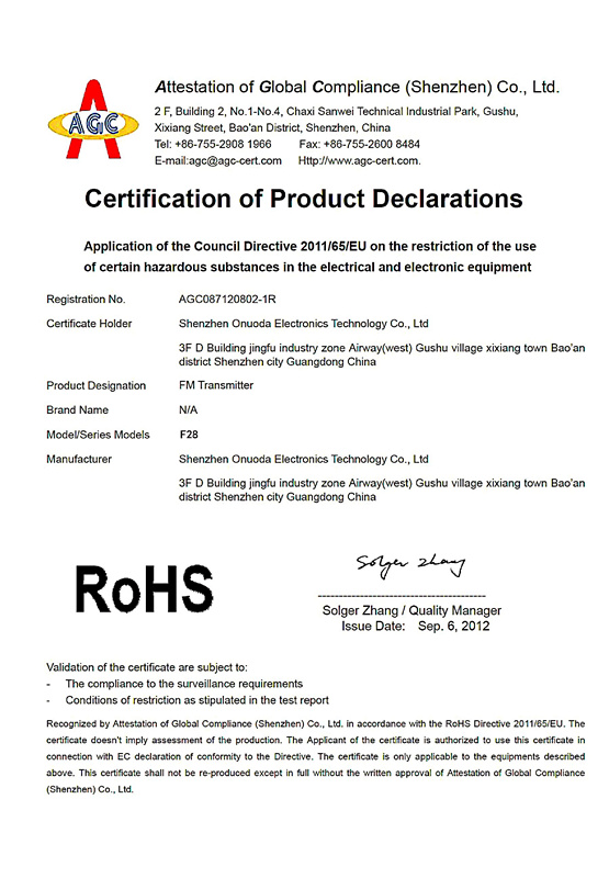 Certification of Product Declarations