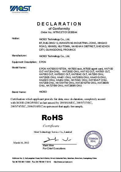 RoHS Certificate for gepon,epon devices