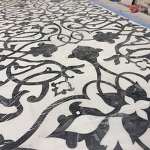 White And Black Maquania Marble Waterjet Medallions