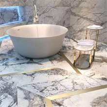 White Cold Winter River Snow Marble Slabs with transparent  Aluminum honeycomb