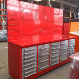 steel heavy duty workbench with 30 drawers used workshop