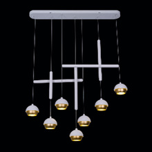 Hand Blown Silver And Gold Color Glass Ball Pendant Light
