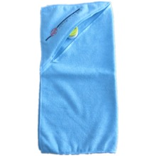 Competitive microfiber towel with zipper and embroidery logo