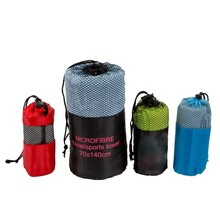 Wholesale Promotional Microfiber Printing Beach Towel Yoga Towel in mesh bag with elastic tape
