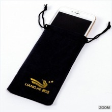 Promotional Hot Stamping Custom Logo Glasses Bags Black Microfiber Sunglasses Pouch