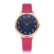 Most Popular Stainless Steel Arabic Numerals Dial Wrist Watch Leather Strap Fashion Wrist Watch