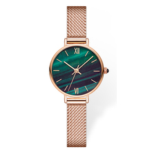 Peacock Green Dial Design Custom Logo Classic Minimalist Women Wrist Watch