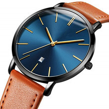 Promotional Minimalist Custom Logo Leather Watch for Men