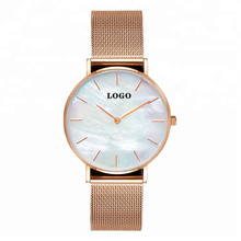 Slim Water Resistent Quartz Pearl dial Stainkless Steel Back Watch