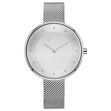 Brushed Silver Double Dial Custom Logo Minimalist Watch