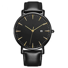 Create Your Own Brand Minimalist Unisex Ultra-Thin Quartz Wrist Watch with Black Leather Strap