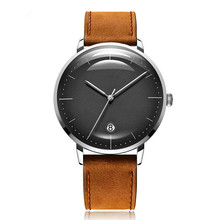 Minimale Custom Logo Mesh Band Leather Strap Quartz Man Wrist Watch