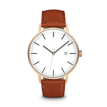 Private Label Branded Hand Stainless Steel Quartz Leather Wrist Watch for Men