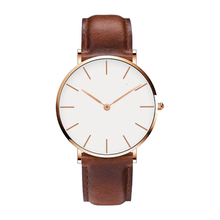 Stainless Steel Custom Logo Leather Rose Gold Wrist Womens Watch
