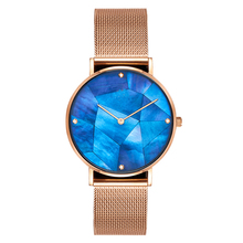 Blue Pearl Dial with Dimond Custom Minimalist Watch for men and women