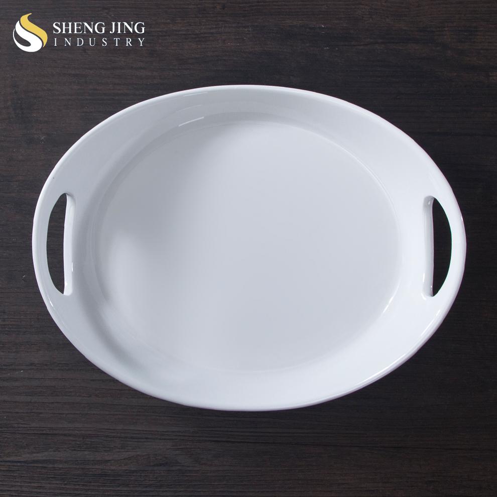 Plain White Oriental Plates Ceramic Restaurant Serving