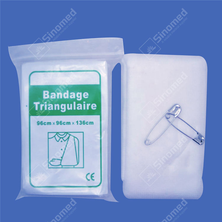 Triangular Bandage with multi-functions & several applications, usually used to fix immobilization splints to limbs. Triangular Bandage is widely used in first-aid training. Good skin tolerance, comfortable to wear, permeable to air, absorbent; non-aging.