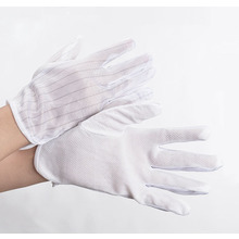 High Quality White Color Striped Antistatic Gloves For Cleanroom